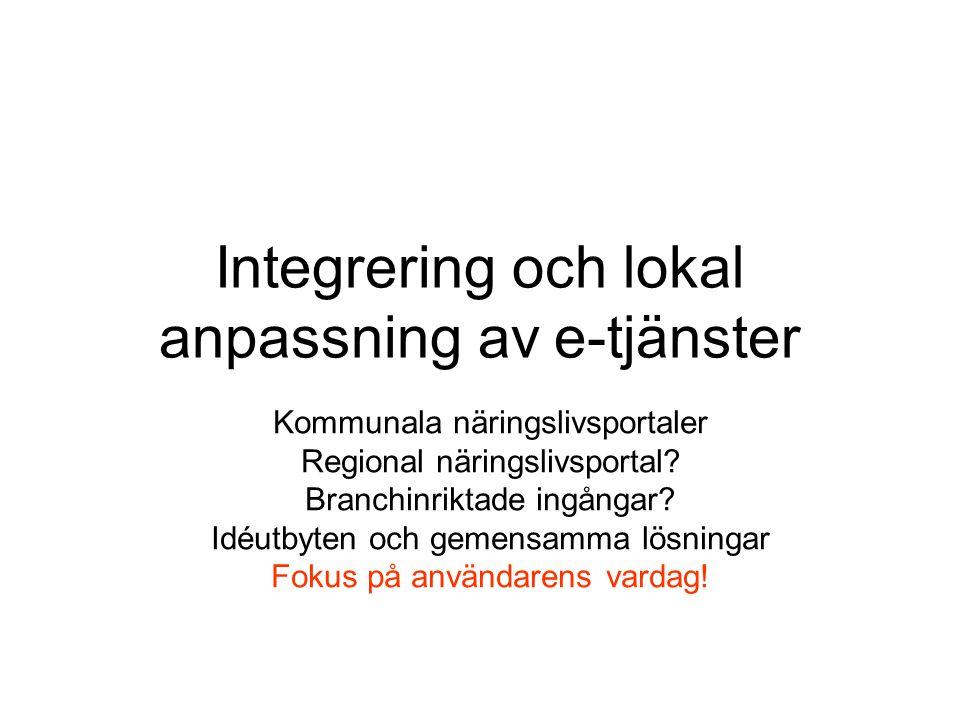 Integrering och lokal anpassning av e-tjänster Kommunala näringslivsportaler Regional näringslivsportal.