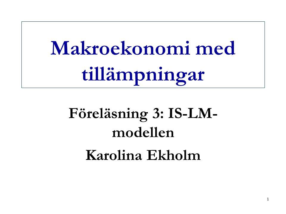 2 Dagens föreläsning  Några ytterligare aspekter av penningmarknaden Penningmultiplikatorn Riksbanken  Jämvikt på varu- och penningmarknaden samtidigt  IS-LM-modellen Verktyg för att analysera hur ekonomin påverkas av olika förändringar när vi utgår från jämvikt på både varu- och penningmarknaden