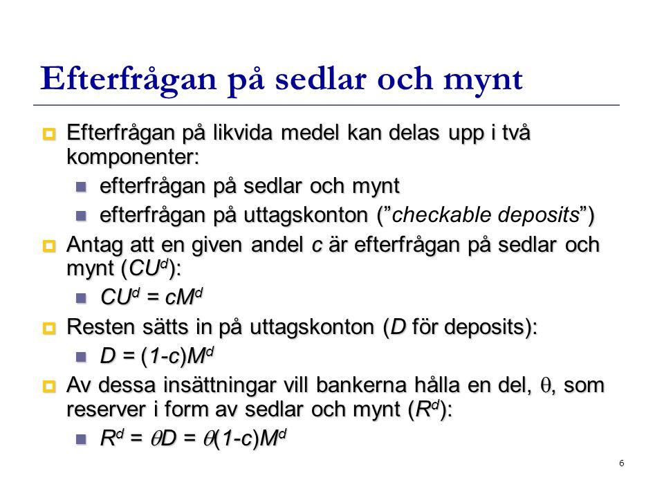 6 Efterfrågan på sedlar och mynt  Efterfrågan på likvida medel kan delas upp i två komponenter: efterfrågan på sedlar och mynt efterfrågan på sedlar och mynt efterfrågan på uttagskonton ( ) efterfrågan på uttagskonton ( checkable deposits )  Antag att en given andel c är efterfrågan på sedlar och mynt (CU d ): CU d = cM d CU d = cM d  Resten sätts in på uttagskonton (D för deposits): D = (1-c)M d D = (1-c)M d  Av dessa insättningar vill bankerna hålla en del, , som reserver i form av sedlar och mynt (R d ): R d =  D =  (1-c)M d R d =  D =  (1-c)M d