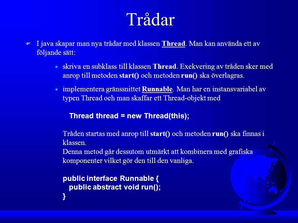 Trådar F I java skapar man nya trådar med klassen Thread.