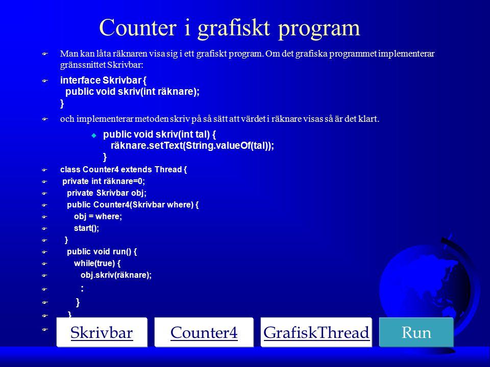 Counter i grafiskt program F Man kan låta räknaren visa sig i ett grafiskt program.