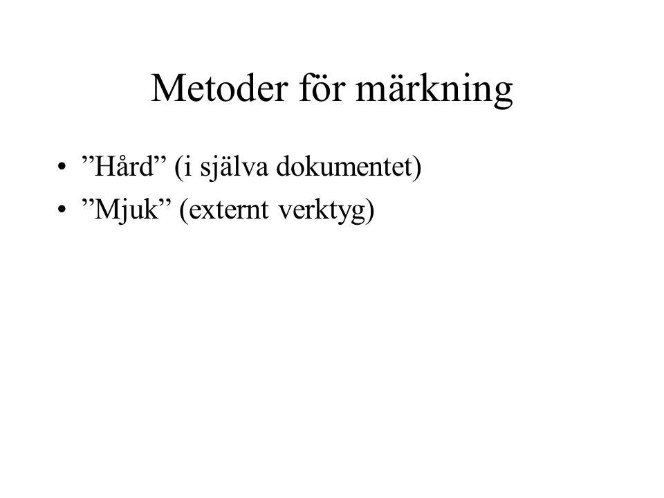 Metoder för märkning Hård (i själva dokumentet) Mjuk (externt verktyg)