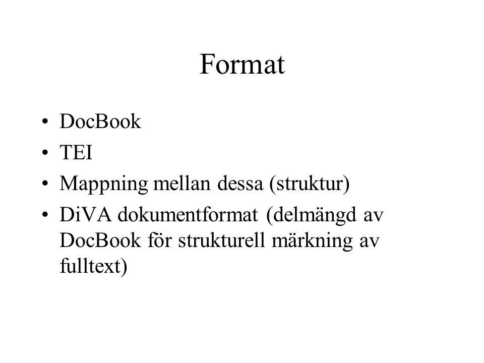 Format DocBook TEI Mappning mellan dessa (struktur) DiVA dokumentformat (delmängd av DocBook för strukturell märkning av fulltext)
