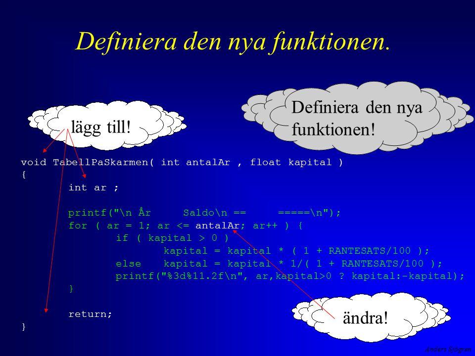 Anders Sjögren Definiera den nya funktionen. void TabellPaSkarmen( int antalAr, float kapital ) { int ar ; printf(