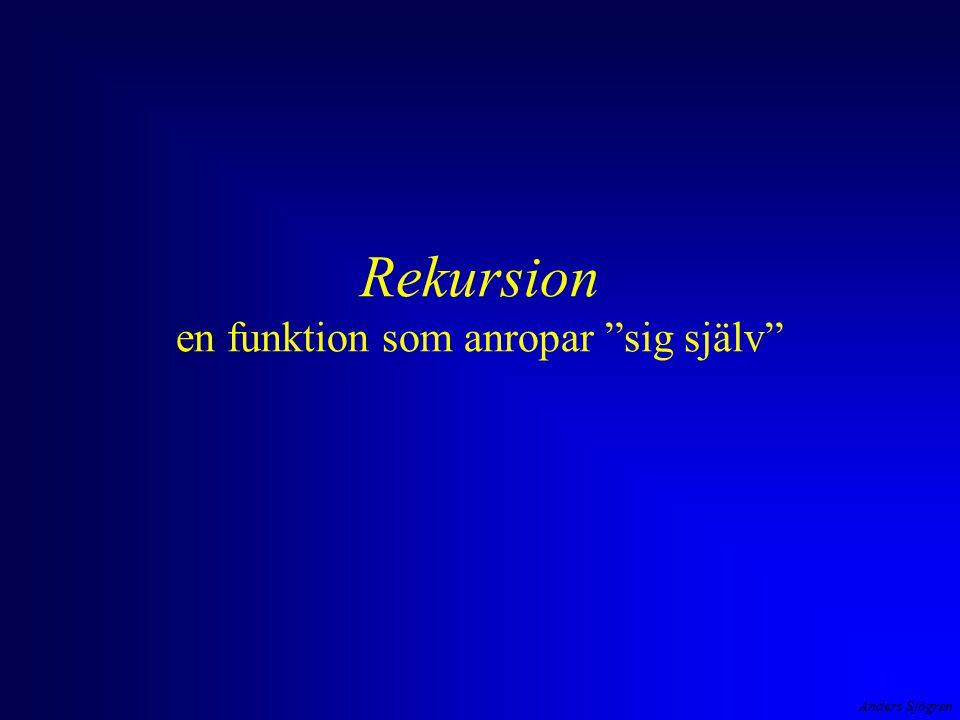 """Anders Sjögren Rekursion en funktion som anropar """"sig själv"""""""