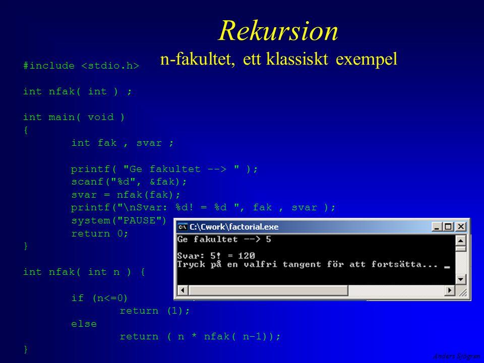 Anders Sjögren Rekursion n-fakultet, ett klassiskt exempel #include int nfak( int ) ; int main( void ) { int fak, svar ; printf( Ge fakultet --> ); scanf( %d , &fak); svar = nfak(fak); printf( \nSvar: %d.