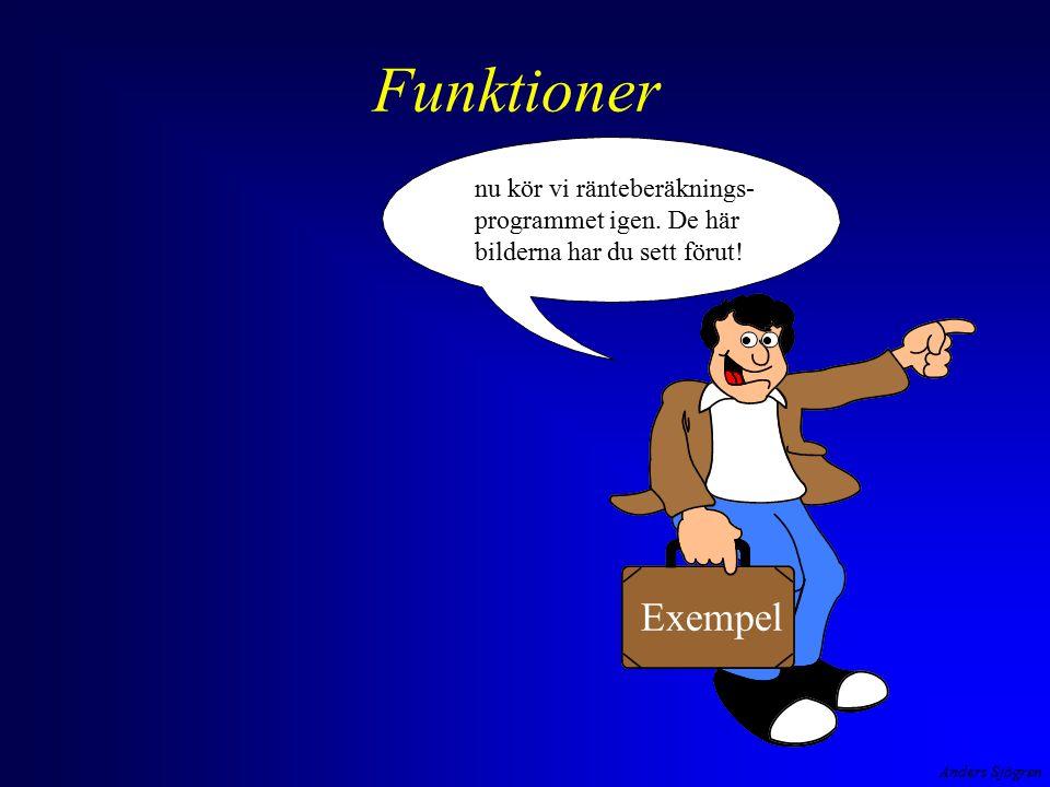 Anders Sjögren Funktioner Exempel nu kör vi ränteberäknings- programmet igen.