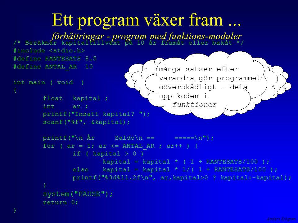 Anders Sjögren Ett program växer fram... förbättringar - program med funktions-moduler /* Beräknar kapitaltillväxt på 10 år framåt eller bakåt */ #inc