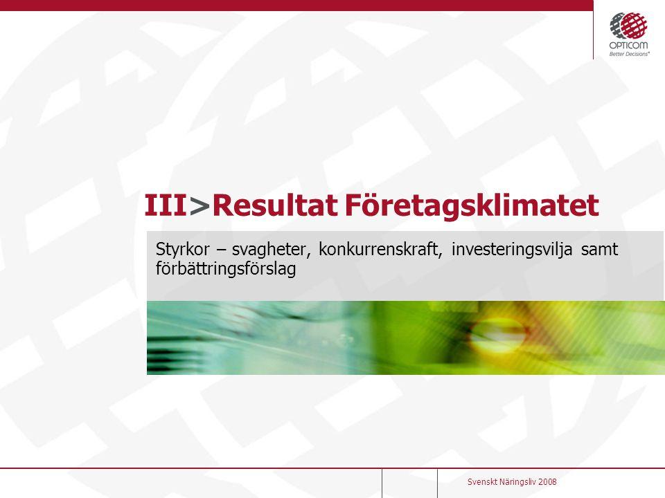 III>Resultat Företagsklimatet Styrkor – svagheter, konkurrenskraft, investeringsvilja samt förbättringsförslag Svenskt Näringsliv 2008