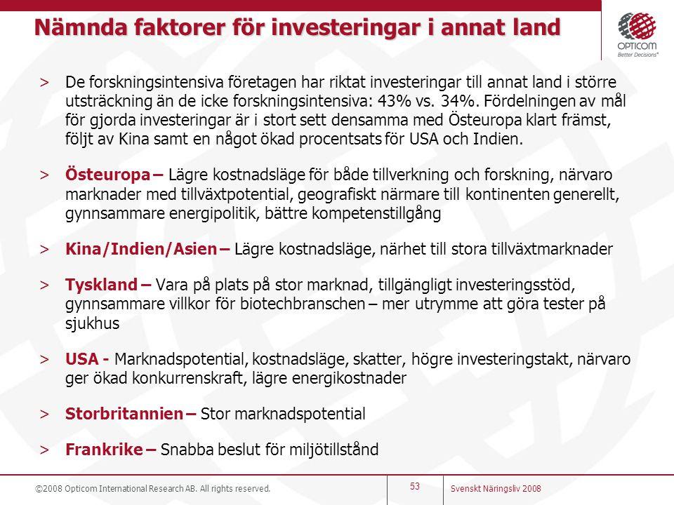 Nämnda faktorer för investeringar i annat land >De forskningsintensiva företagen har riktat investeringar till annat land i större utsträckning än de