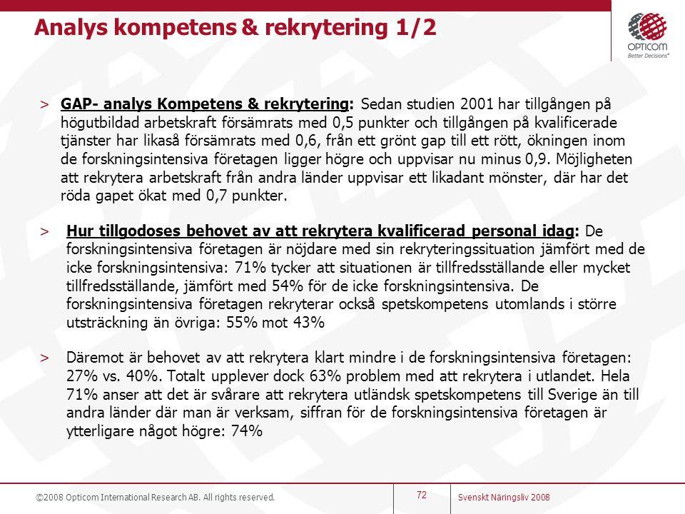 Analys kompetens & rekrytering 1/2 >GAP- analys Kompetens & rekrytering: Sedan studien 2001 har tillgången på högutbildad arbetskraft försämrats med 0