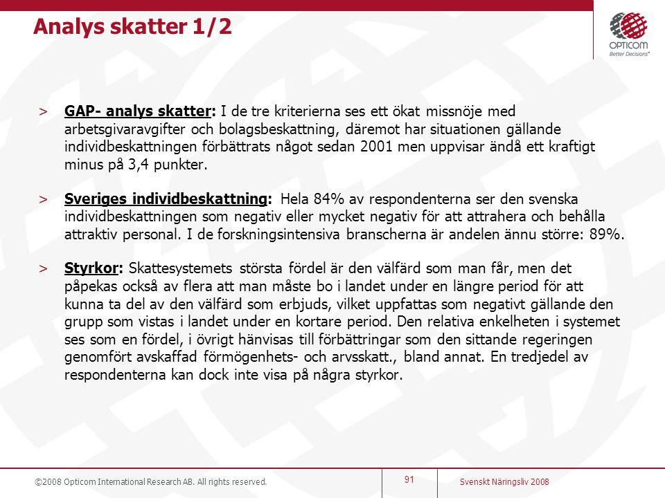Analys skatter 1/2 >GAP- analys skatter: I de tre kriterierna ses ett ökat missnöje med arbetsgivaravgifter och bolagsbeskattning, däremot har situati