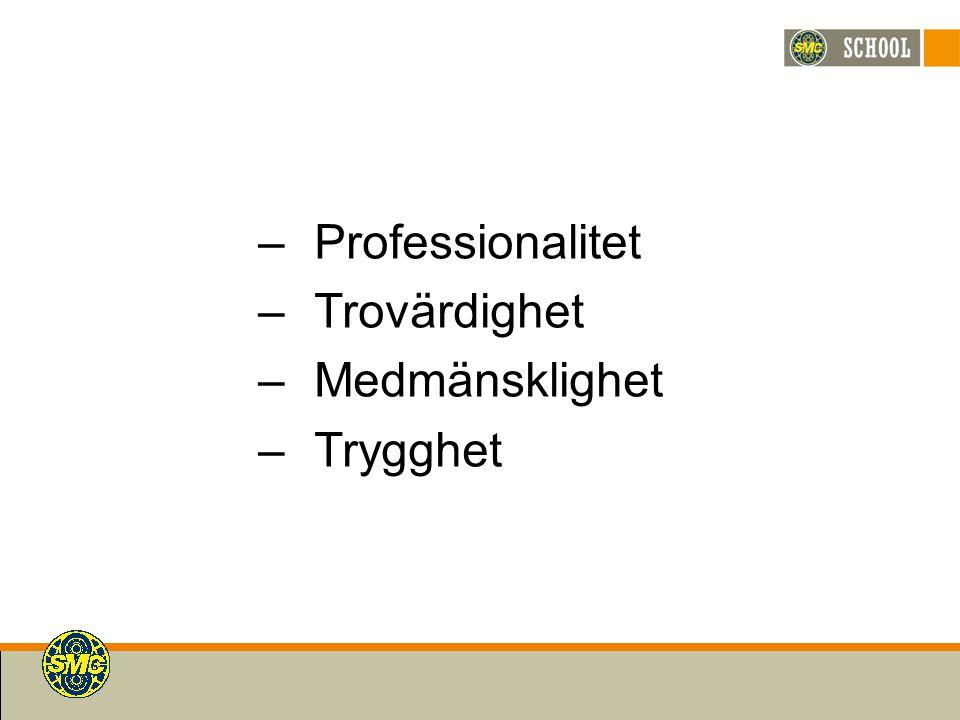 –Professionalitet –Trovärdighet –Medmänsklighet –Trygghet