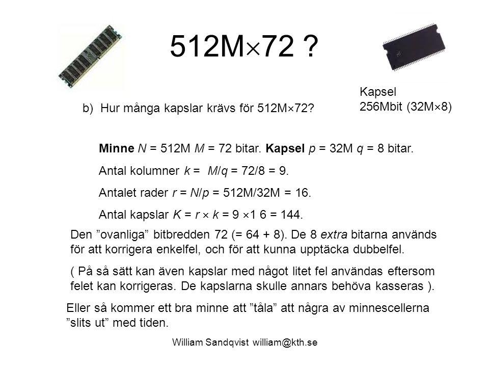 512M  72 ? b) Hur många kapslar krävs för 512M  72? Minne N = 512M M = 72 bitar. Kapsel p = 32M q = 8 bitar. Antal kolumner k = M/q = 72/8 = 9. Anta