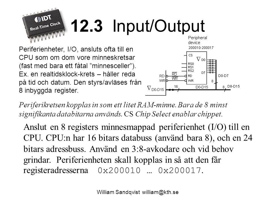12.3 Input/Output Periferikretsen kopplas in som ett litet RAM-minne. Bara de 8 minst signifikanta databitarna används. CS Chip Select enablar chippet