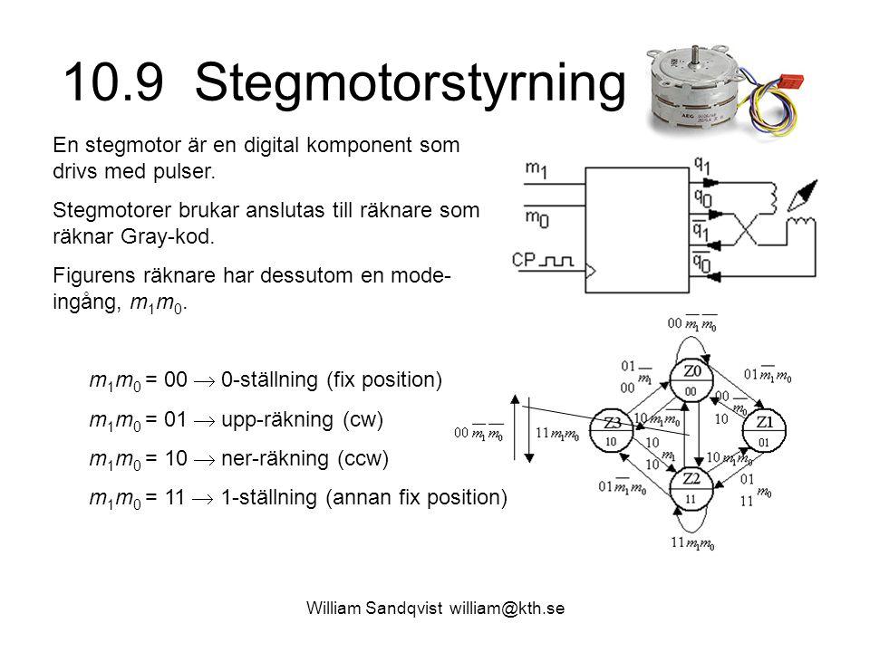 10.9 Stegmotorstyrning William Sandqvist william@kth.se En stegmotor är en digital komponent som drivs med pulser. Stegmotorer brukar anslutas till rä