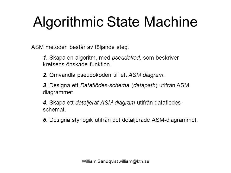 Algorithmic State Machine ASM metoden består av följande steg: 1. Skapa en algoritm, med pseudokod, som beskriver kretsens önskade funktion. 2. Omvand
