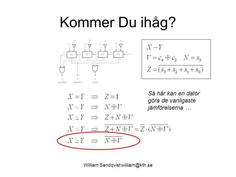 William Sandqvist william@kth.se Kommer Du ihåg? Så här kan en dator göra de vanligaste jämförelserna …