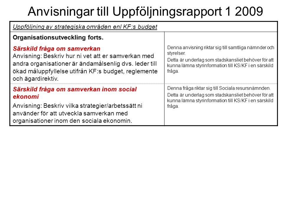 Anvisningar till Uppföljningsrapport 1 2009 Uppföljning av strategiska områden enl KF:s budget Organisationsutveckling forts.