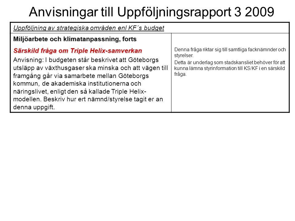 Anvisningar till Uppföljningsrapport 3 2009 Uppföljning av strategiska områden enl KF´s budget Miljöarbete och klimatanpassning, forts Särskild fråga om Triple Helix-samverkan Anvisning: I budgeten står beskrivet att Göteborgs utsläpp av växthusgaser ska minska och att vägen till framgång går via samarbete mellan Göteborgs kommun, de akademiska institutionerna och näringslivet, enligt den så kallade Triple Helix- modellen.