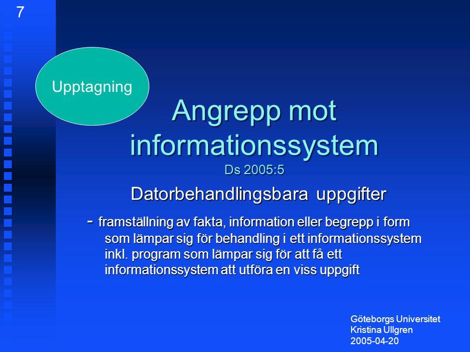 Angrepp mot informationssystem Ds 2005:5 Datorbehandlingsbara uppgifter - framställning av fakta, information eller begrepp i form som lämpar sig för behandling i ett informationssystem inkl.