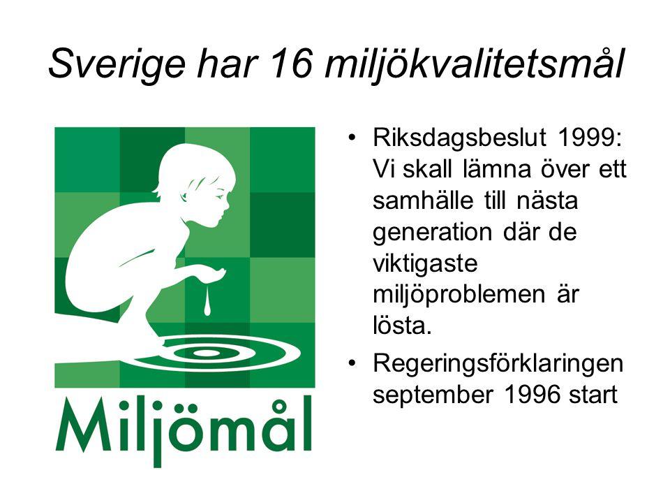 Sverige har 16 miljökvalitetsmål Riksdagsbeslut 1999: Vi skall lämna över ett samhälle till nästa generation där de viktigaste miljöproblemen är lösta.