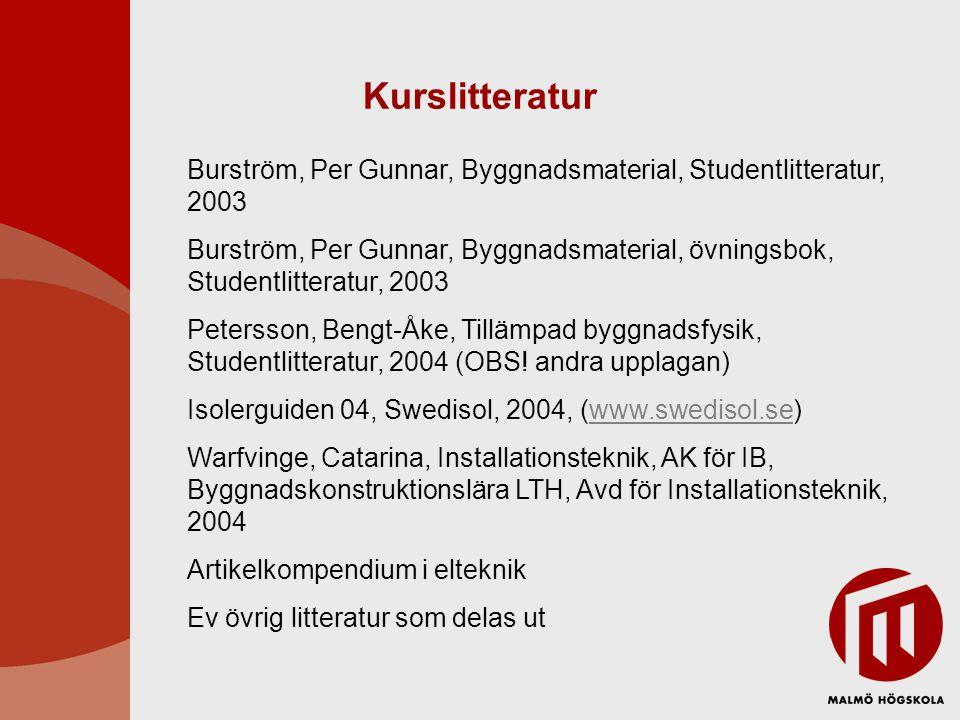 Kurslitteratur Burström, Per Gunnar, Byggnadsmaterial, Studentlitteratur, 2003 Burström, Per Gunnar, Byggnadsmaterial, övningsbok, Studentlitteratur, 2003 Petersson, Bengt-Åke, Tillämpad byggnadsfysik, Studentlitteratur, 2004 (OBS.