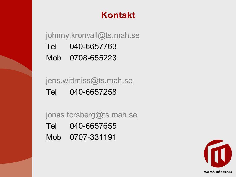 Kontakt johnny.kronvall@ts.mah.se Tel 040-6657763 Mob 0708-655223 jens.wittmiss@ts.mah.se Tel040-6657258 jonas.forsberg@ts.mah.se Tel 040-6657655 Mob0707-331191