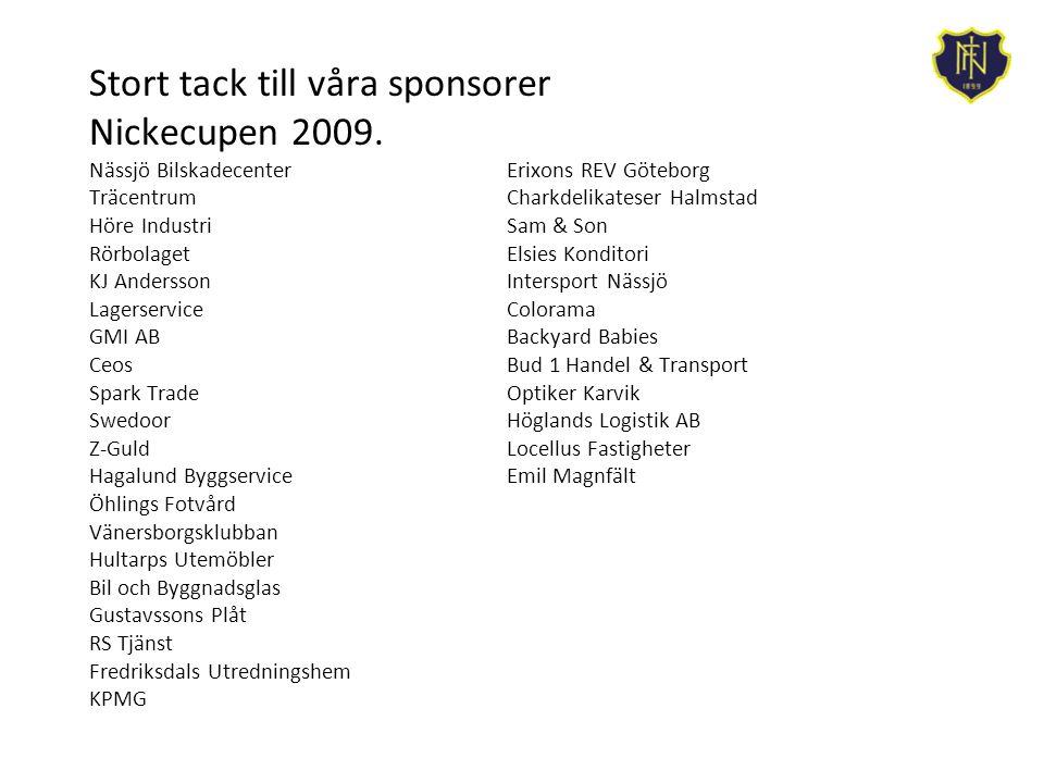 Stort tack till våra sponsorer Nickecupen 2009.