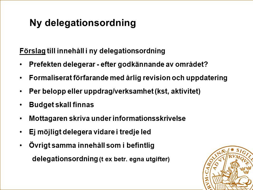 Ny delegationsordning Förslag till innehåll i ny delegationsordning Prefekten delegerar - efter godkännande av området? Formaliserat förfarande med år