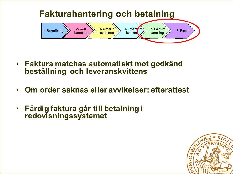 Fakturahantering och betalning Faktura matchas automatiskt mot godkänd beställning och leveranskvittens Om order saknas eller avvikelser: efterattest
