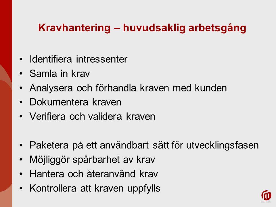 Kravhantering – huvudsaklig arbetsgång Identifiera intressenter Samla in krav Analysera och förhandla kraven med kunden Dokumentera kraven Verifiera o