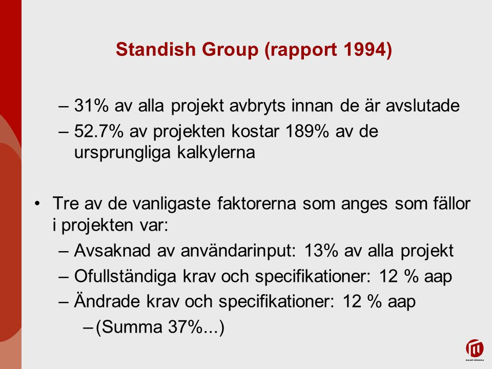 Standish Group (rapport 1994) –9% av projekten i stora företag levererades i tid och inom budget –16% av projekten i mindre företag levererades i tid och inom budget Tre av de vanligaste faktorerna som anges som fällor i projekten var: –Involvering av användare: 16% av alla lyckade projekt (aalp) –Ledningsstöd: 14% aalp –Klara kravdefinitioner: 12% aalp