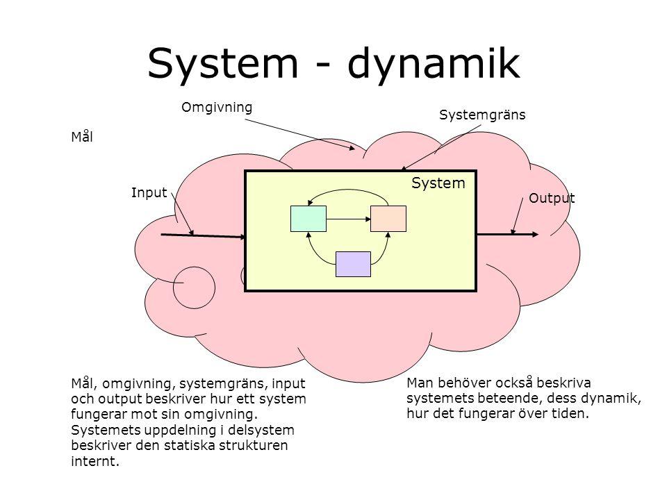System - dynamik Input Output Systemgräns Mål Omgivning Mål, omgivning, systemgräns, input och output beskriver hur ett system fungerar mot sin omgivn