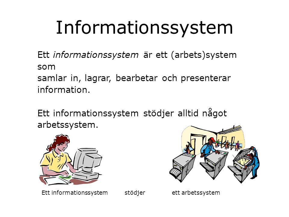 Informationssystem Ett informationssystem är ett (arbets)system som samlar in, lagrar, bearbetar och presenterar information. Ett informationssystem s