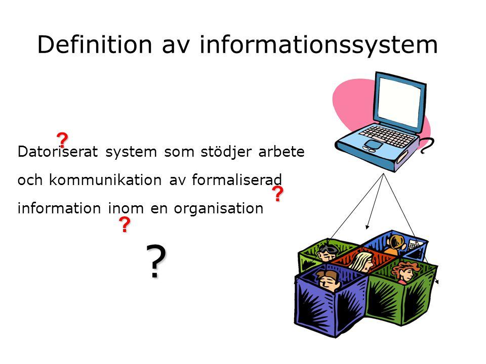 Definition av informationssystem Datoriserat system som stödjer arbete och kommunikation av formaliserad information inom en organisation ? ? ? ?