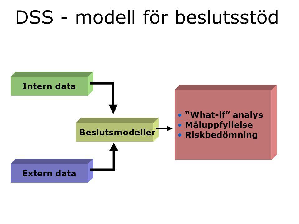 """DSS - modell för beslutsstöd Intern data Extern data Beslutsmodeller """"What-if"""" analys Måluppfyllelse Riskbedömning"""