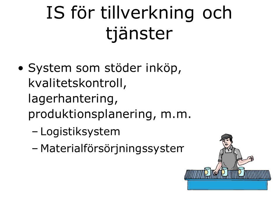 IS för tillverkning och tjänster System som stöder inköp, kvalitetskontroll, lagerhantering, produktionsplanering, m.m. –Logistiksystem –Materialförsö