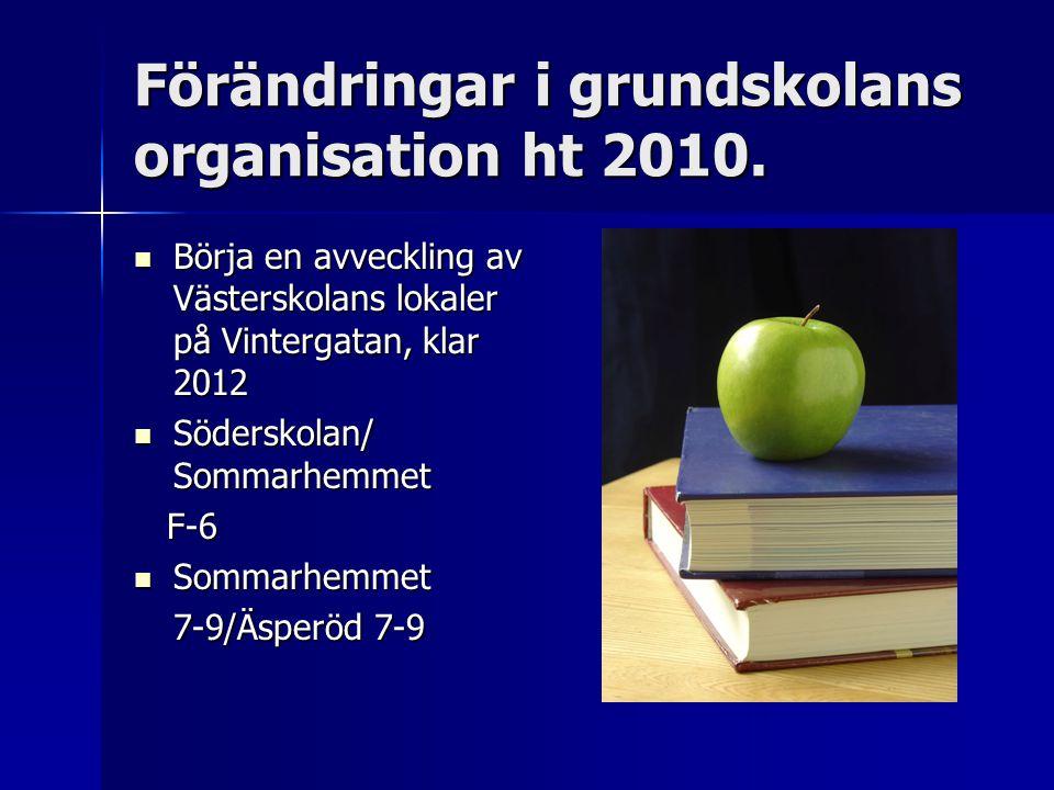 Förändringar i grundskolans organisation ht 2010. Börja en avveckling av Västerskolans lokaler på Vintergatan, klar 2012 Börja en avveckling av Väster