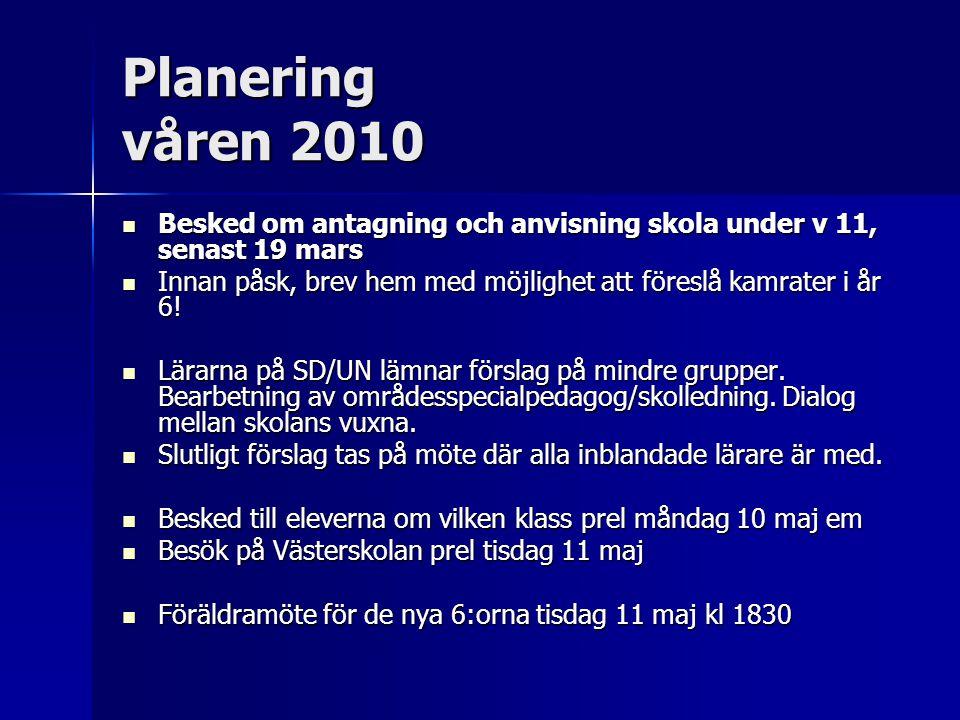 Planering våren 2010 Besked om antagning och anvisning skola under v 11, senast 19 mars Besked om antagning och anvisning skola under v 11, senast 19
