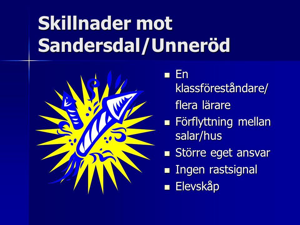 Skillnader mot Sandersdal/Unneröd En klassföreståndare/ En klassföreståndare/ flera lärare Förflyttning mellan salar/hus Förflyttning mellan salar/hus