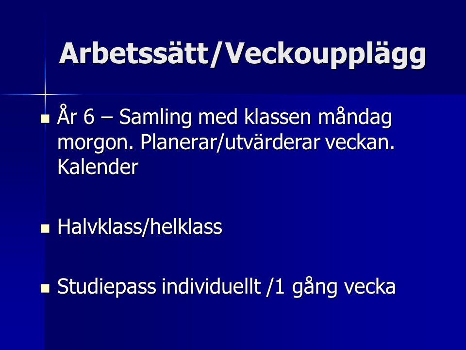 Arbetssätt/Veckoupplägg År 6 – Samling med klassen måndag morgon. Planerar/utvärderar veckan. Kalender År 6 – Samling med klassen måndag morgon. Plane