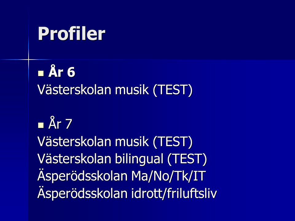 Profiler År 6 År 6 Västerskolan musik (TEST) År 7 År 7 Västerskolan musik (TEST) Västerskolan bilingual (TEST) Äsperödsskolan Ma/No/Tk/IT Äsperödsskol