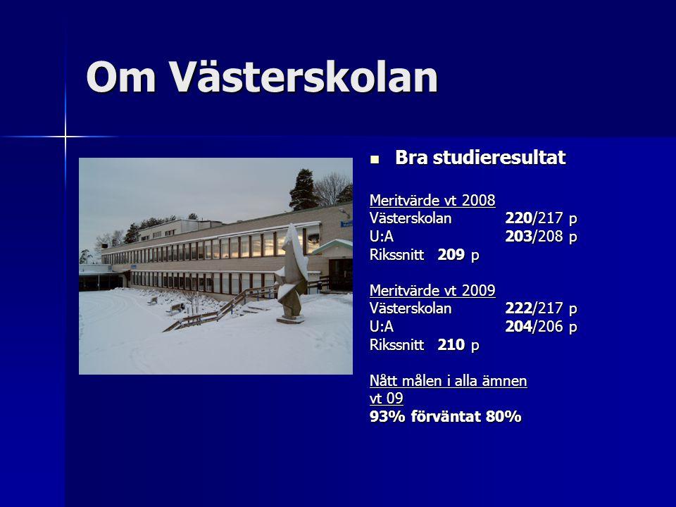 Om Västerskolan Bra studieresultat Bra studieresultat Meritvärde vt 2008 Västerskolan 220/217 p U:A 203/208 p Rikssnitt209 p Meritvärde vt 2009 Väster