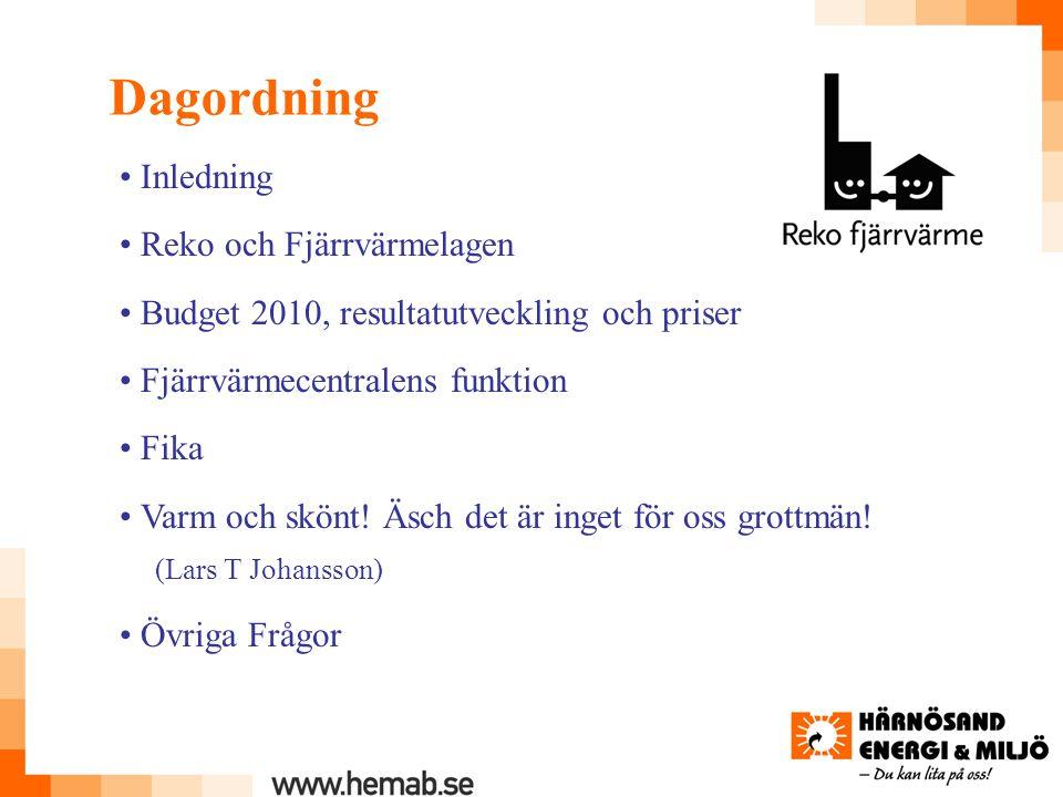 Dagordning Inledning Reko och Fjärrvärmelagen Budget 2010, resultatutveckling och priser Fjärrvärmecentralens funktion Fika Varm och skönt.