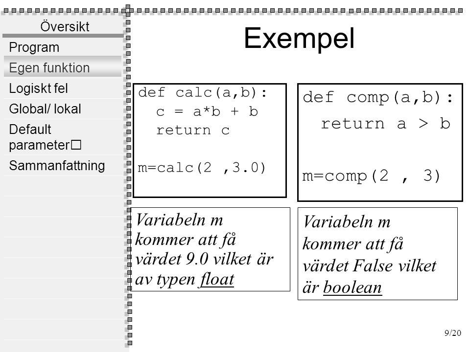 Översikt Program Egen funktion Logiskt fel Global/ lokal Default parameter Sammanfattning utdata Program f1() f2() f3() 10/20 indata