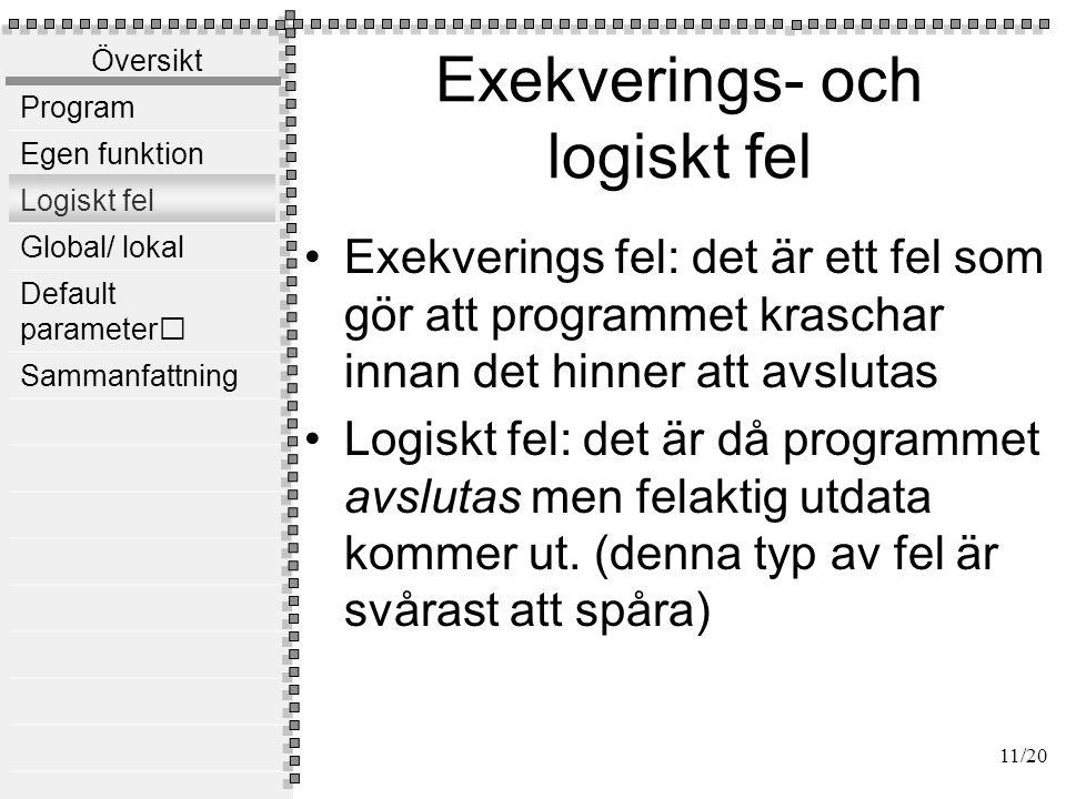 Översikt Program Egen funktion Logiskt fel Global/ lokal Default parameter Sammanfattning Logiskt fel brudgummen brud 12/20