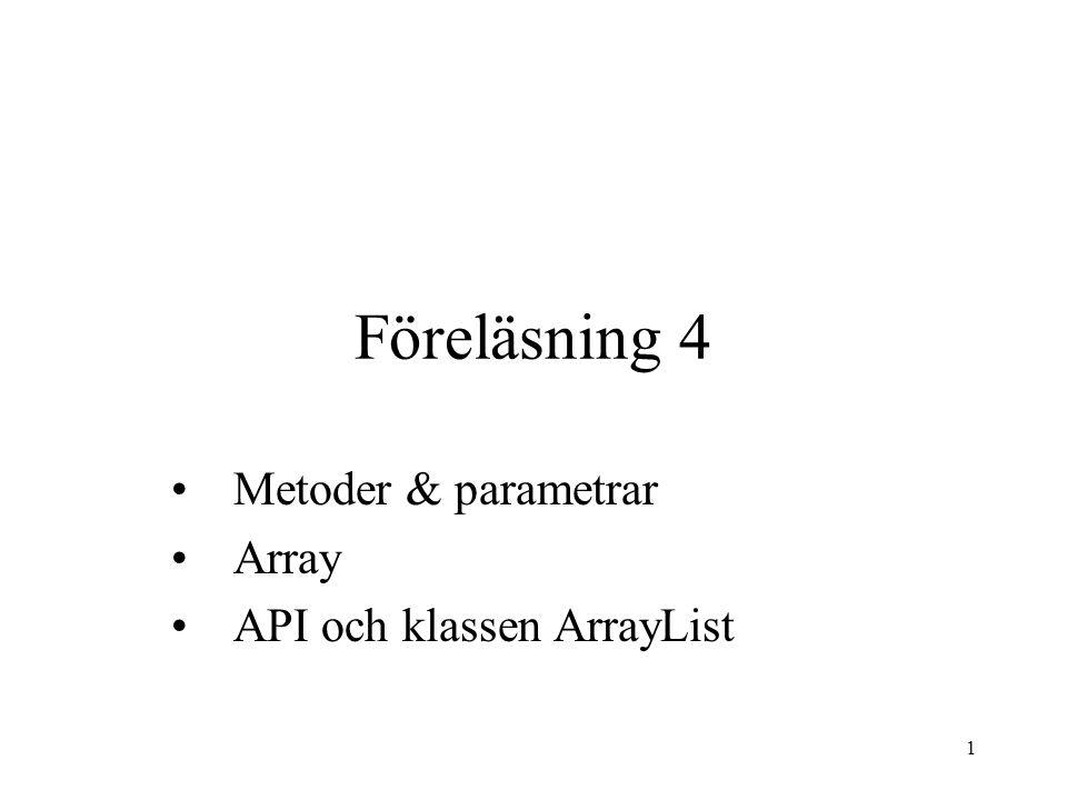 22 Den nya klasskoden ser så här ut import java.io.*; class Person { ststic BufferedReader stdin; public static void main(String[] args)throws IOException{ stdin = new BufferedReader( new InputStreamReader(System.in)); String namn = läsSvar ( Vad heter du? ); String ålderStr = läsSvar( Hur gammal är du? ); int ålder = Integer.parseInt(ålderStr); System.out.print( vad har du för e-mail? ); mailAdress = läsSvar ( vad har du för e-mail? ); int född = 2004 - ålder; System.out.println(namn+ är född år +född+ kan nås via mail: + mailAdress); } static String läsSvar(String frågan){ System.out.print(frågan); String svar = stdin.readLine(); return svar; }