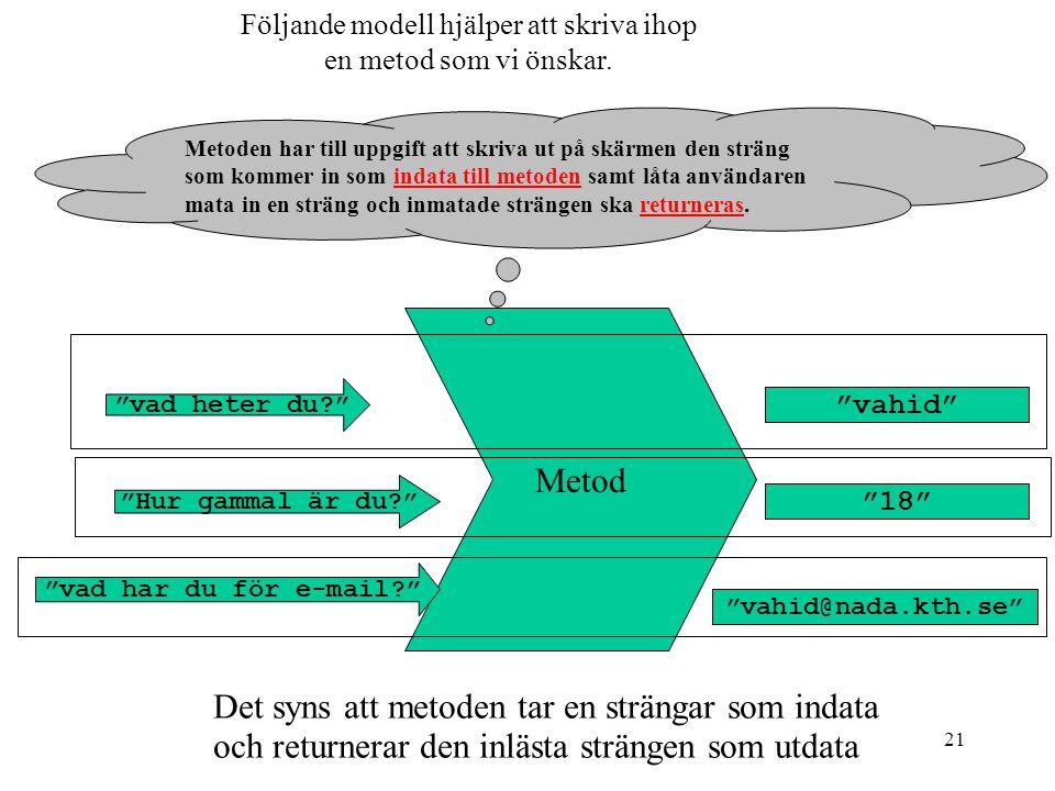 21 Följande modell hjälper att skriva ihop en metod som vi önskar.