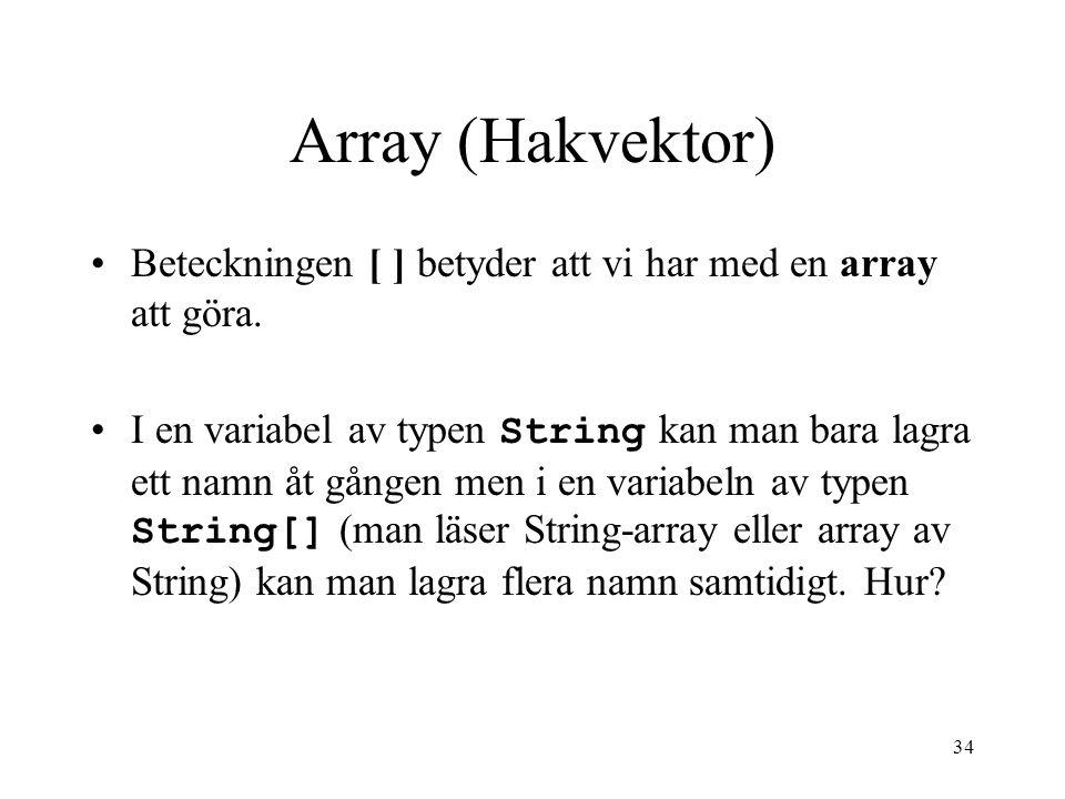 34 Array (Hakvektor) Beteckningen [ ] betyder att vi har med en array att göra.